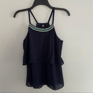 Navy Blue Two Layered Tank Top